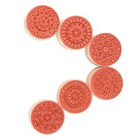 Wholesale Practical in Round Wooden Rubber Retro Floral Pattern Stamps MTY3