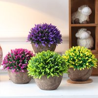 artificial grass planter - Hyson Shop Artificial Bonsai for Home Decor Pot Planter Decorative Flower Artificial Bonsai Real Touch Fake Plant Round Shape kinds Grass
