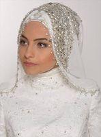 al por mayor diamantes de imitación de codo velo-Velos musulmanes Velos blancos de Tulle 2017 Hijab turco moderno para novias árabes Rhinestone de lujo y rebordear longitud hecha a mano del codo