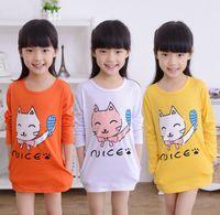 long sleeve yellow t-shirts - Cute Children Long Clothing Spring Girls Long Sleeve Nice Cartoon Cat T shirt Kids Clothes Tee Tops T shirts White Yellow Orange M3073