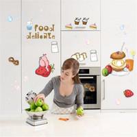 bathroom wall cupboards - DIY Wall Sticker with Cake Milk Bread Cup for Refrigerator Cupboard Kitchen Restaurant Home Decor Decoration