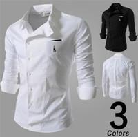 Wholesale HOT Spring Mens Fashion casual men shirts New Mens Stylish Formal Dress Shirt Tee Mens Fit Slim shirts mens long sleeve shirts