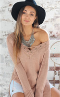 Wholesale 2016 female Apparel lace up knitted camel long pullover sweaters women oversized Autumn winter warm tricot jumpers pull femme fall