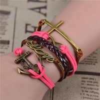 Wholesale 2015 NEW fashion Leather Bracelet Antique Anchor Love Peach Heart Owl Bird Believe Pearl Knitting Bronze Charm Bracelets