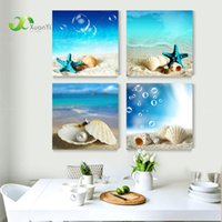 Wholesale 4 Panel Modern Printed Blue Beach Seascapes Paintings Wall Art Home Decor Shell Sea Paintings For Living Room No Frame PR053