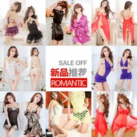 Wholesale Good quality Sexy Lingerie Satin Sleepwear Silk Detail Robe and G String Sexy Sleepwear Nightdress