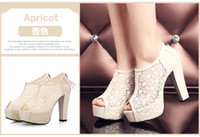beautiful shoes - Beautiful Black Apricot Lace Wedding Shoes Peep toe Heels CM Bridal Shoes Tassels Women s Shoes inches