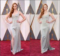 Wholesale The th Oscar Celebrity Dresses Sophia Turner Sexy High Split Side Sheath Backless Silver Red Carpet Gowns Custom