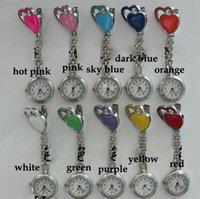 Wholesale Double heart Nurse Watch Quartz Pocket Doctor Watches Steel Fob Watch Sweet Heart Hanging Nurse Watches Fashion medical watches