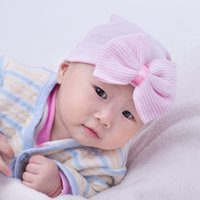 Plain Dyed baby yarn colors - New hot babies caps with bowknot cute newborn baby hats Elasticity infant cap kids toddler hat five colors knitting baby warm beanies
