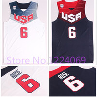 Wholesale top quality Derrick Rose Basketball World Cup USA Dream Team American White and Blue Jerseys