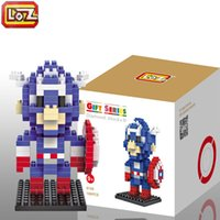 Wholesale Captain America etc Building Blocks Super Heroes Action Figures Captain America LOZ Diamond Blocks Kids Toy Retail LOZ