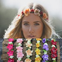 Wholesale Hand Made Romantic Bohemian Style Wreath Flower Crown Wedding Bride Garland Forehead Hair Head Band Beach Wreath