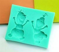 cake icing - Frozen Anna Elsa Xue Bao silicone fondant mold FDA Cake DIY decorating ice chocolate suger mold cm green pink to choose