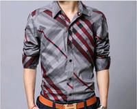 Wholesale The new men long sleeve shirt pure cotton grid color brand shirts men s plus size XL casual shirt