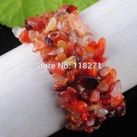 Precio de Chip stone bracelet-El envío por mayor-Libre ágata roja salta granos de piedra pulsera del estiramiento 7