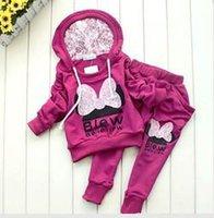 Wholesale BCS005 factory outlet children suit Cartoon Minny girl clothing set hoodie pants autumn baby set Retail