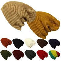 Wholesale Retro Have Hole Personality Beanies Hats Unisex Plain Warm Soft Beanie Skull Knit Cap Hat Knitted Ski Gorro Caps For Men Women