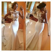Wholesale 2017 Mermaid Prom Dresses Crew Neck Sheer Illusion Appliqued Lace Court Train Vestidos Formal Evening Party Gowns