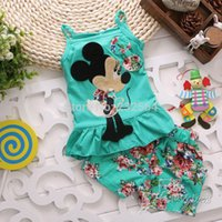 Cheap Wholesale-Free shipping new 2015 summer style set girl baby Minnie clothing set Vest sling shorts pants sets children's clothing