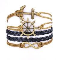 bracelet de gouvernail nautique achat en gros de-Punk Style Nautical Rudder Anchor Infinity Charm Bracelets pour hommes, personnalisé Retro DIY Braided Leather Rope Multilayer Bracelets DHL Free