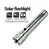 outdoor torches - Aluminum Waterproof And Shockproof Solar Charger Flashlight Torch With USB Charger Outdoor Camping Survival W W