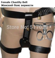 Cheap sexy Leather female chastity belt underwear panty body bondage harness restraint set with leg cuffs adult fetish sex toy for women
