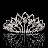 Wholesale 5PCS Beauty Pageant Crystal Crown Tiara Hair Combs Women s Sliver Plated Hair Jewelry For Birthday Party Prom Event