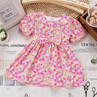 Wholesale 2015 New Arrival Little Girls Dresses Floral Baby Girls Party Dress Kids Clothing Pure Cotton Bowknot Children Summer Wear AF401