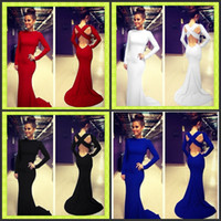 backless maxi evening dress - Sexy Cross Backless Maxi Evening Dresses White Black Red Blue Bodycon Long Sleeve Runway Club Celebrity Prom Gowns Skirt In Stock Cheap