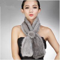 knitting fur scarf - 2014 mink knitted muffler scarf winter fur scarf female mink rose muffler scarf