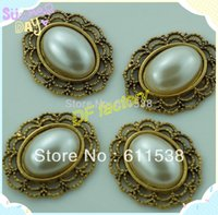 Wholesale 2 cm flat back pearl button for invitation cards alloy brooch for ribbon flower