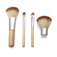 Wholesale 4PCS Natural Bamboo Handle Makeup Brushes Tools Kit Cosmetics Tools Set Powder Blush Brushes Pefect Touching Feeling H9943