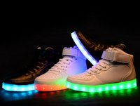 Wholesale Odema Women High Top USB Charging LED Shoes Flashing Sneakers