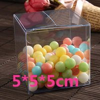 Wholesale 1000pcs cm square Plastic pvc clear box wedding favor box food safe can packing cupcake Boxes and candy storage