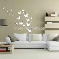 Cheap Free shipping 20 butterfly combination of 3D mirror surface wall sticker household decorates sitting room crystal sticker order<$18 no track
