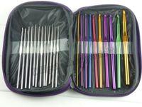 aluminum knitting needles - 2015 Best sales set Aluminum Crochet Hooks Needles Knit Weave Stitches Knitting Craft Case New