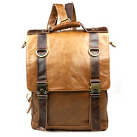 backpacks deals - Super Deals Vintage fashion genuine leather men backpacks Luxury First layer Burnished Cow Leather travel bags for Gentlemen