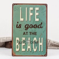 Wholesale Life IS Good at the Beach painting item Tin Sign Bar pub home Wall Decor Retro Metal Art Poster