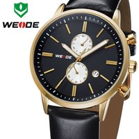 Wholesale Hot Sale WEIDE Military Watches Men Quartz Sports Watch Luxury Brand Famous Leather Strap Waterproofed WH3302G