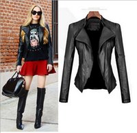 womens leather jackets - Plus Size S XXXL Stylish New Womens real leather coat slim stand collar motorcycle overcoat Zip Up washed Jackets brand quality color balck