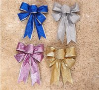 Wholesale EMS Free cm Red Bow Christmas Items Supplies New Year Party Christmas Tree Hanging Decorations Indoor Outdoor Festival Bowknots Bows