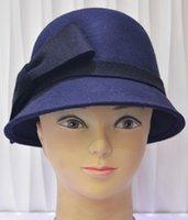 tea party hats - Women s Vintage Large Bow Wool Cloche Bucket Hat women formal chapeu masculino chapeus felt bowler tea party hats vintage