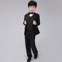 Wholesale Kids Formal Blazer Suit Boys Tuxedo Set Includes Shirt Jacket Pants Vest Bowtie Flower Children Wedding Apparel wyb001