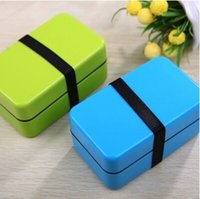 Plastic plastic food storage container - 2 Tier Small Japanese Plastic Food Storage Box for Kids Food Container Bento Box Lunch Box ml Kitchen Accessories Blue Green