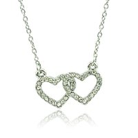 Wholesale New Fashion Double Heart Pendant Necklace White Rhinestone Silver Plated Necklace For Women Romantic Valentine s Gifts Jewelry