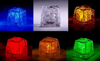 Wholesale Led Bar Ice Cubes - 200 pcs Multi LED Color Changing Flash Light Ice Crystal Cube for Party Wedding Event Bars Chirstmas Multi Color
