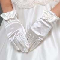 Cheap New Fingerless 24-20cm White gloves Finger Wrist wedding gloves Bow Car bone flower rhinestone Wedding Dresses Accessories Bridal Gloves