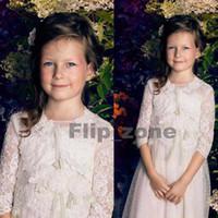 black friday - Half Sleeve Sheer Crew Neck Lace Flower Girl s Dresses Girls Birthday Communion Wedding Dress Formal Gowns Papilio Black Friday Ivory