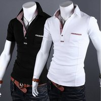 Cheap 2014 New Casual Style Turn-down Collar Men Polo Shirt Short Sleeve Plaid Slim Fit Mens Clothing With Design Black White A118 XXL